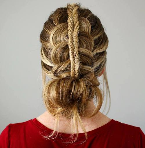 Two Braids Into Bun Boho Updo