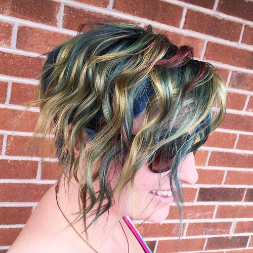 Wavy Bob With Rainbow Highlights