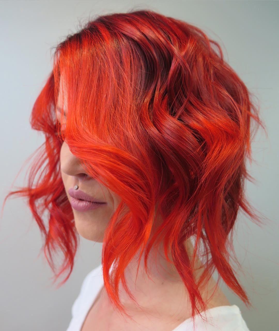 Orange Red Wavy Bob