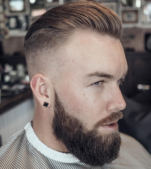 Slicked Back Fade With Full Beard