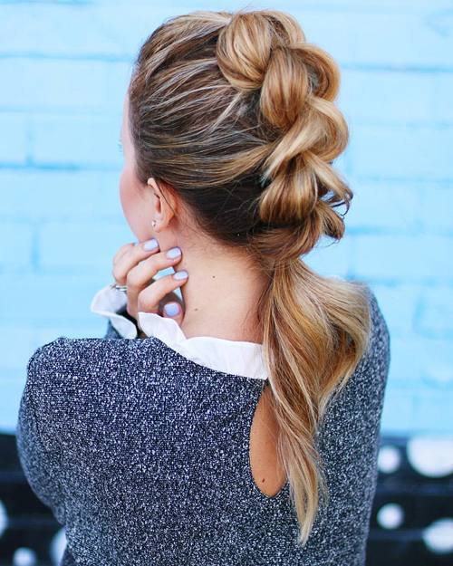 Braided Mohawk With A Low Ponytail