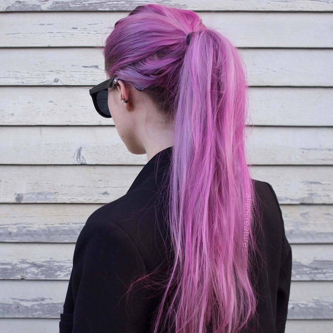 Long Pastel Purple Pink Hair