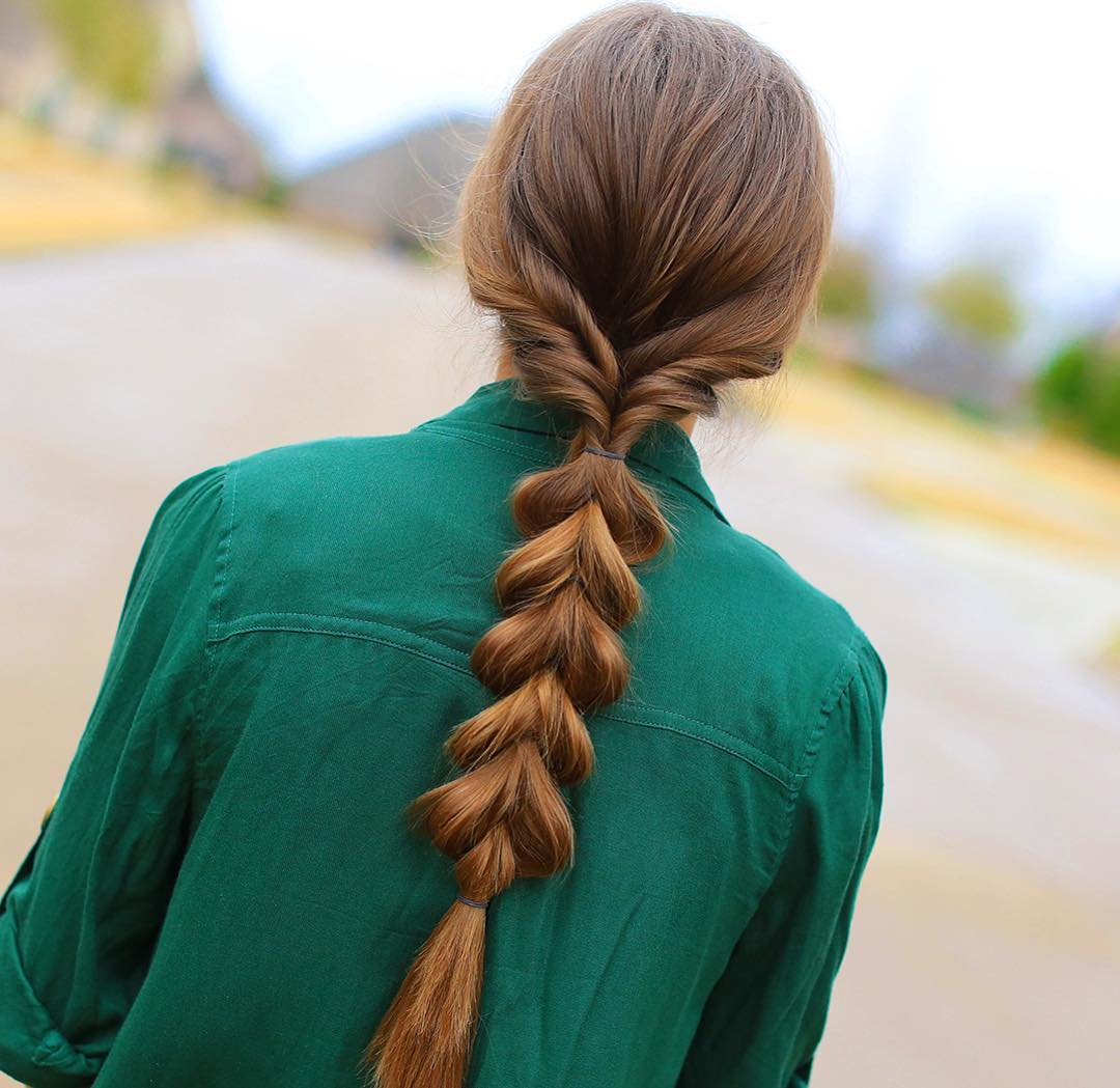 Pull Through Braid Out Of Low Ponytail