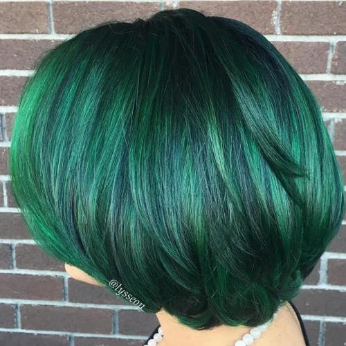 20 ways to rock green hair black bob with emerald green highlights pmusecretfo Image collections