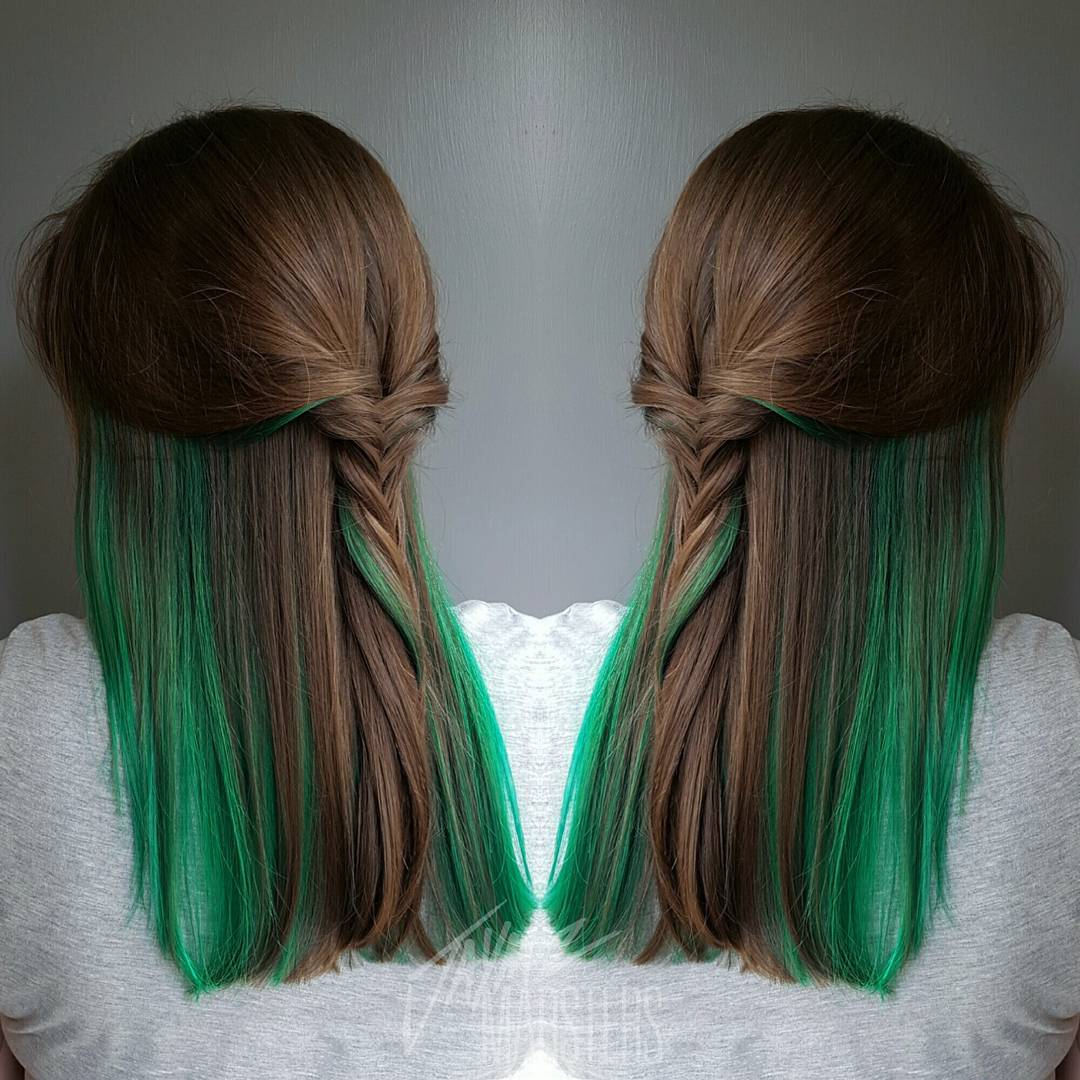 20 ways to rock green hair brown hair with green peekaboo highlights pmusecretfo Image collections
