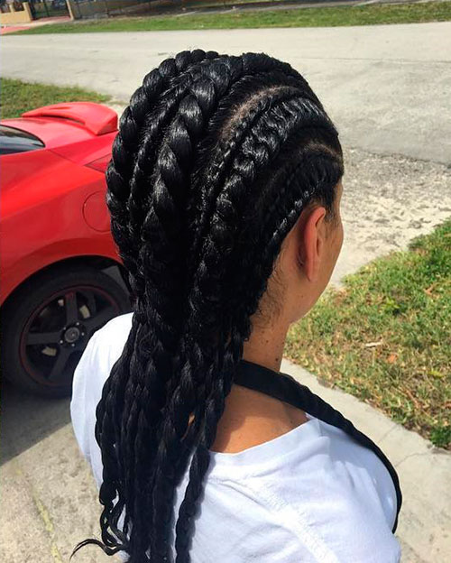 Big And Small Flat Twists Hairstyle