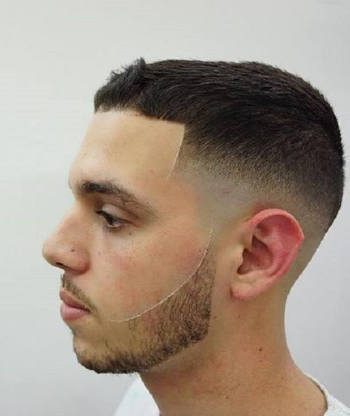Caesar cut with fade