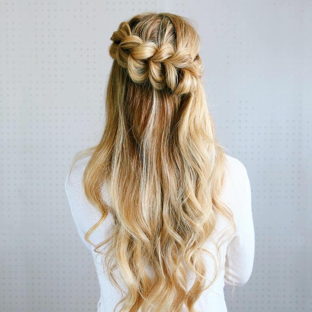 Half Updo With A Pull Through Braid