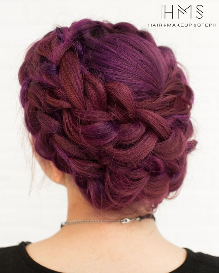 Purple Maroon Hair Updo