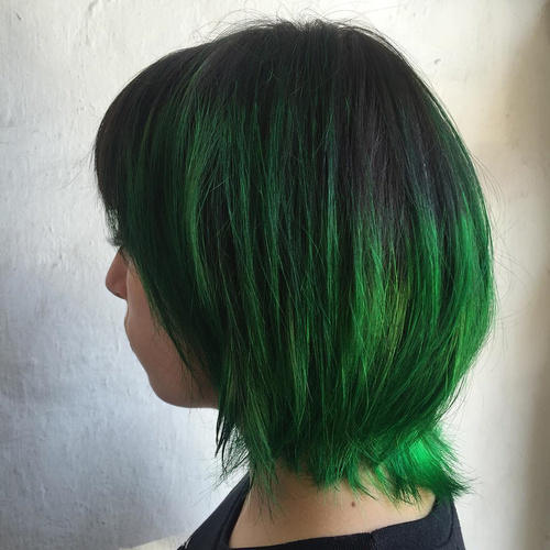 Green Balayage For Black Hair