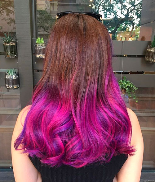 Purple And Pink Dip Dye For Brown Hair