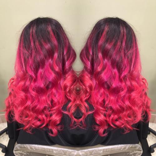 Bright Pink Curly Hair With Black Roots