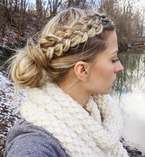 Side Braid Into Bun Updo