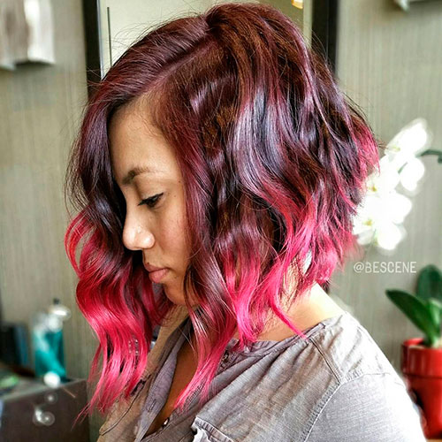 Burgundy Bob With Pink Dip Dye
