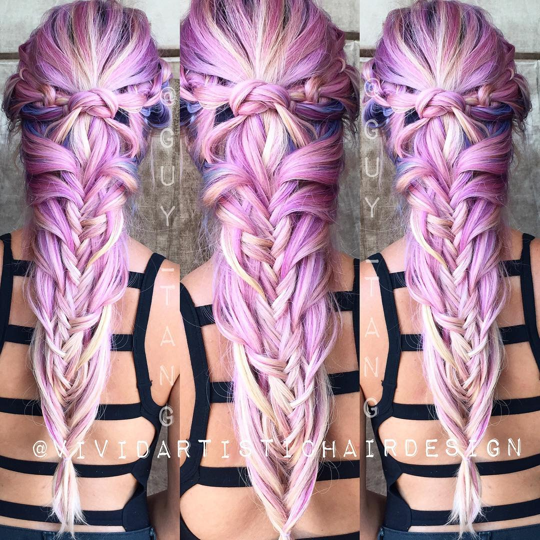 Lilac Hair With Blue Highlights
