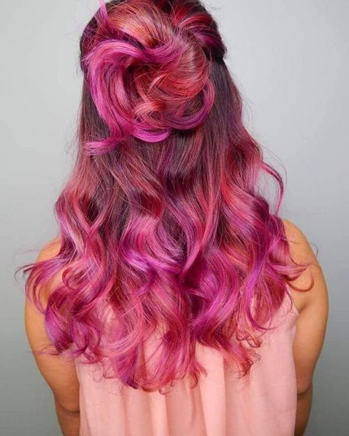 Red And Magenta Balayage Hair