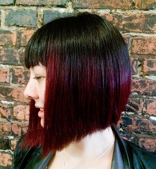 Red Balayage For Black Bob