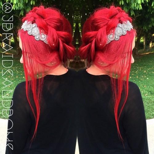 Braided Crimson Updo