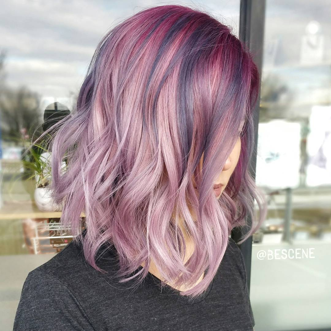 Pastel Purple Wavy Lob
