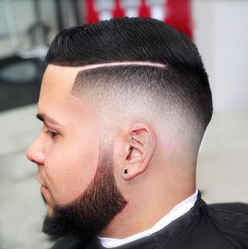 Line Up With Fade And Shaved Side Part