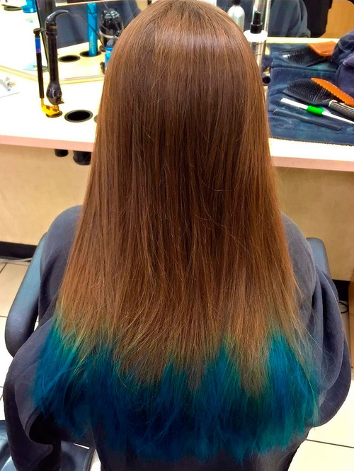 Chestnut Brown Hair With Blue Dip Dye
