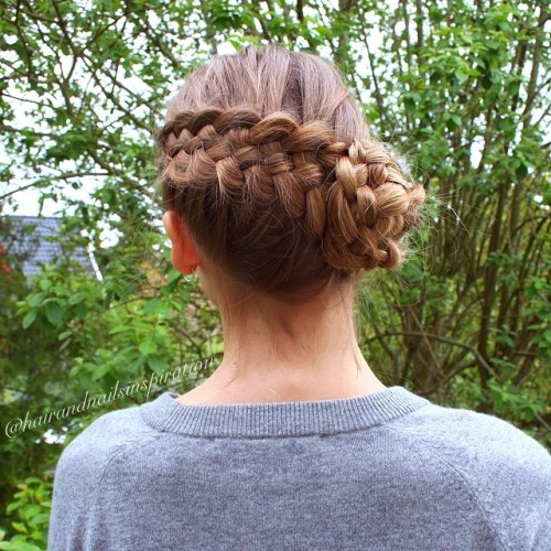 Diagonal Five Strand Braid With A Side Bun