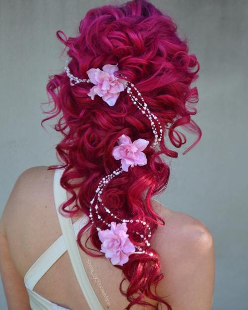 Curly Bridal Hairstyle Crimson Hair