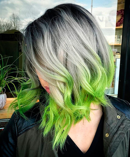 Gray Hair With Green Dip Dye