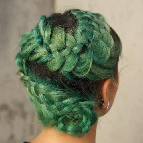Pastel Green Messy Braided Updo