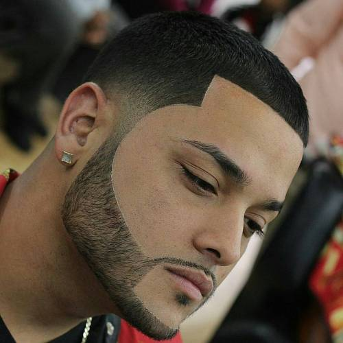 Short Line Up With Facial Hairstyle
