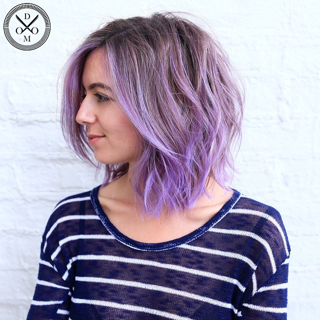 Pastel Purple Shaggy Wavy Bob