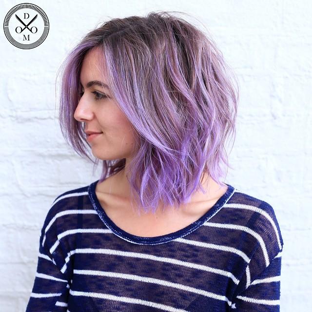 Pastel Purple Shaggy Wavy Bob
