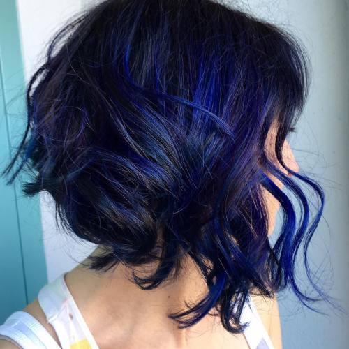 Black Angled Bob With Blue Highlights