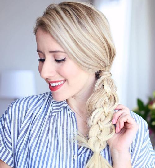 Side Ponytail With Strand Braid