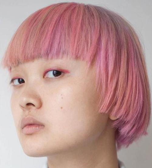 Pastel Pink Choppy Bob With Bangs