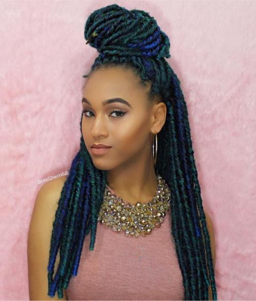 Fake Dreadlocks With Blue And Green Highlights