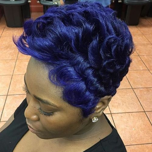Purple Blue Pixie For Black Women