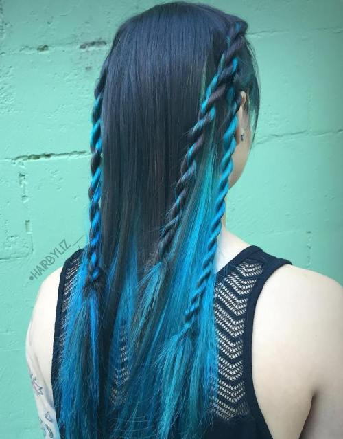 Black Hair With Teal Highlights