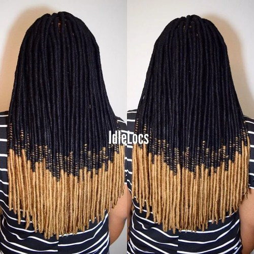 Black To Blonde Ombre Faux Locs