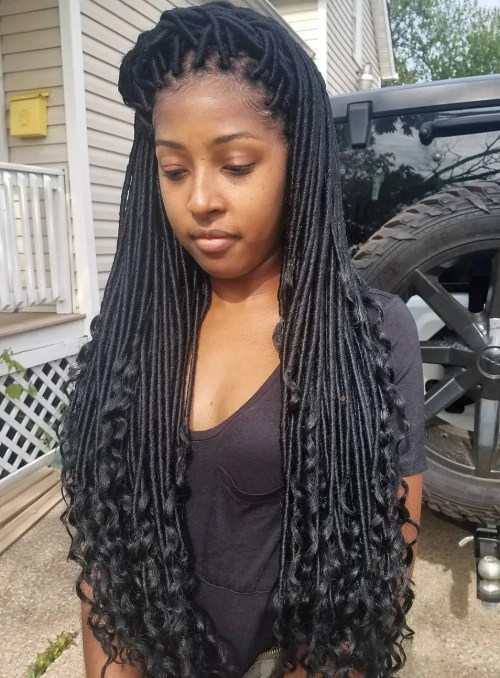 Long Faux Locs With Curled Ends