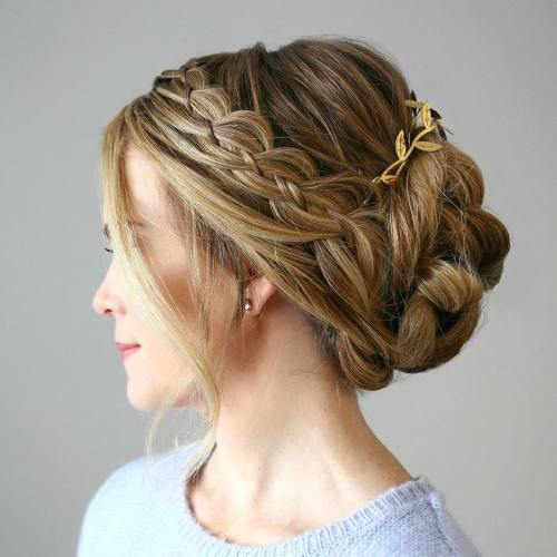 Twisted Updo With A Side Strand Braid