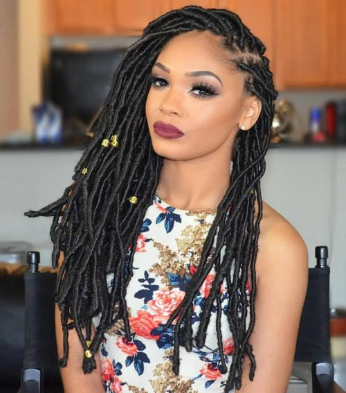 Long Side-Parted Faux Locs