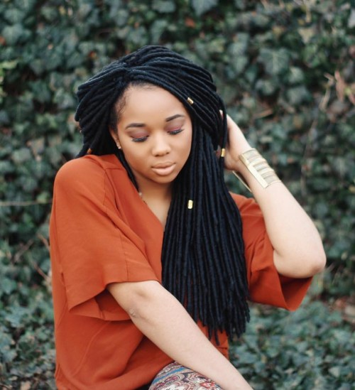 Black Faux Locs With Beads