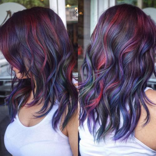 Blue, Burgundy And Purple Highlights