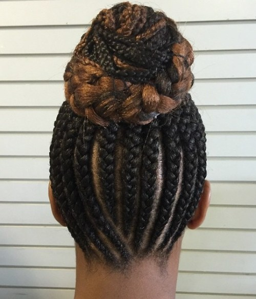 High Braided Bun From Cornrows