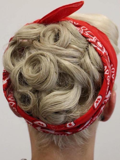 Vintage Pin Curls Updo For Shorter Hair