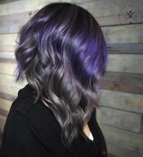 Black, Gray And Purple Wavy Lob