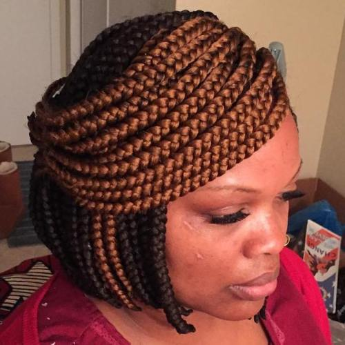 Box Braids Bob Half Updo