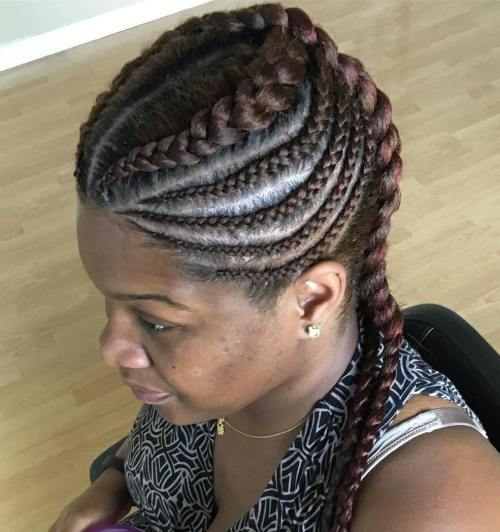 Circular And Vertical Ghana Braids