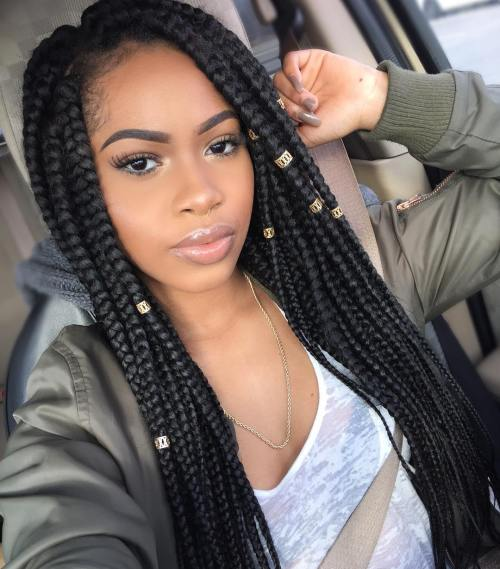 Long Box Braids With Beads
